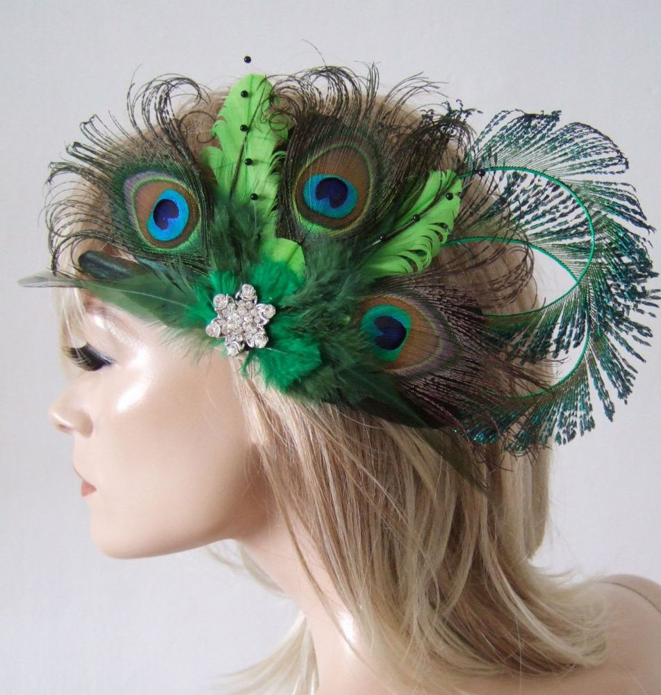 Bridal Curled Peacock Feathers Lime Olive Emerald Green